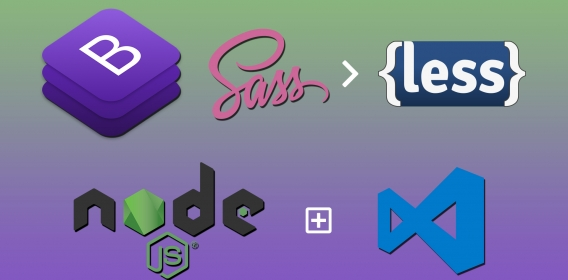Convert Bootstrap SASS to LESS automatically, with Visual Studio Code & Node.js